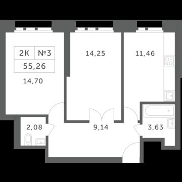 """2-комнатная квартира, 55 кв.м., в ЖК """"Спутник"""" (д. Раздоры)"""