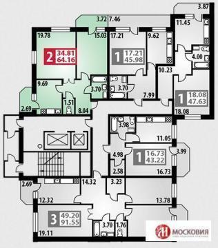 """2-комнатная квартира, 64 кв.м., в ЖК """"Парковый"""" г. Подольск"""