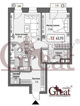 """2-комнатная квартира, 64 кв.м., в ЖК """"Малая Ордынка 19"""""""