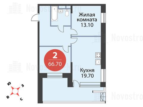 Павловская Слобода, 2-х комнатная квартира, ул. Красная д.д. 9, корп. 55, 6710020 руб.