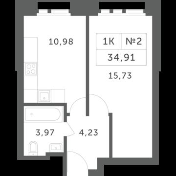 """1-комнатная квартира, 35 кв.м., в ЖК """"Спутник"""" (д. Раздоры)"""
