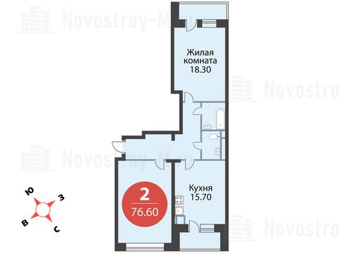 """2-комнатная квартира, 77 кв.м., в ЖК """"Сказка"""""""