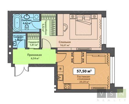 1-комнатная квартира, 50 кв.м.