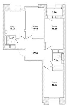 """3-комнатная квартира, в ЖК """"Пикассо"""""""
