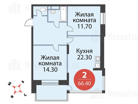 """2-комнатная квартира, 66 кв.м., в ЖК """"Сказка"""""""