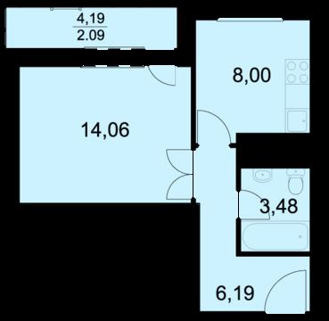Пироговский, 1-но комнатная квартира, ул. Советская д.8, 2301800 руб.