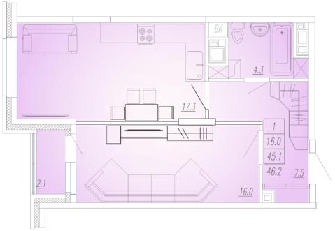 Мытищи, 1-но комнатная квартира, Ярославское ш. д.111 к2, 3927000 руб.