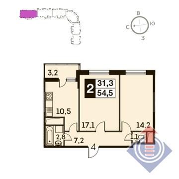Одинцово, 2-х комнатная квартира, ул. Чистяковой д., 5022175 руб.