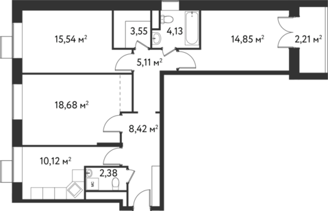 "3-комнатная квартира, 85 кв.м., в ЖК ""Дом на Сходненской"""