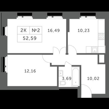 """2-комнатная квартира, 53 кв.м., в ЖК """"Спутник"""" (д. Раздоры)"""