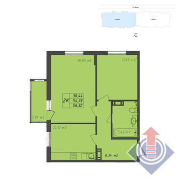 2-комнатная квартира, 56 кв.м.