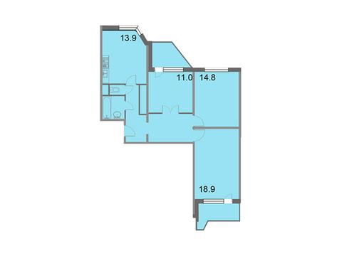 """Продается 3-к. квартира, 79,5 кв.м. в ЖК """"Кварталы 21/19"""""""