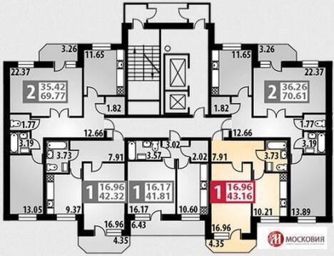"""1-комнатная квартира, 43 кв.м., в ЖК """"Парковый"""" г. Подольск"""