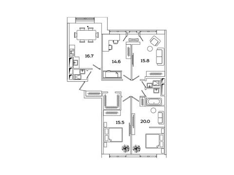 """Продается 4-к. квартира, 104 кв.м. в ЖК """"sreda"""""""