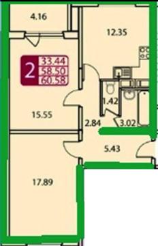 2-комнатная квартира, ЖК Домодедово Парк