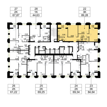 """3-комнатная квартира, 89 кв.м., в ЖК """"Родной город. Октябрьское поле"""""""