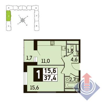 1-комнатная квартира, 37 кв.м., в ЖК Up! Квартал Новое Тушино