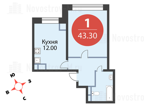 Павловская Слобода, 1-но комнатная квартира, ул. Красная д.д. 9, корп. 68, 4433920 руб.