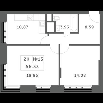 """2-комнатная квартира, 56 кв.м., в ЖК """"Спутник"""" (д. Раздоры)"""