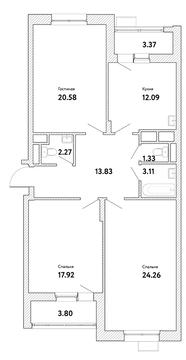 """3-комнатная квартира, 99 кв.м., в ЖК """"Пикассо"""""""