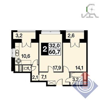 """2-комнатная квартира, 61 кв.м., в ЖК """"UP!КВАРТАЛ""""Римский"""""""