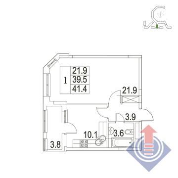 """1-комнатная квартира, 41 кв.м., в ЖК """"UP!КВАРТАЛ""""Римский"""""""