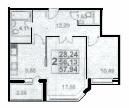 2-комнатная квартира, 58 кв.м., в ЖК в мкр. Царицыно
