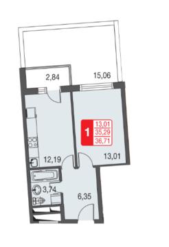 Москва, 1-но комнатная квартира, ул. Живописная д.12, 2467396 руб.