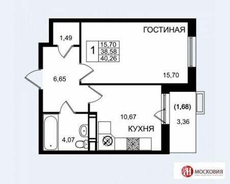 Однокомнатная квартира в Ватутинках