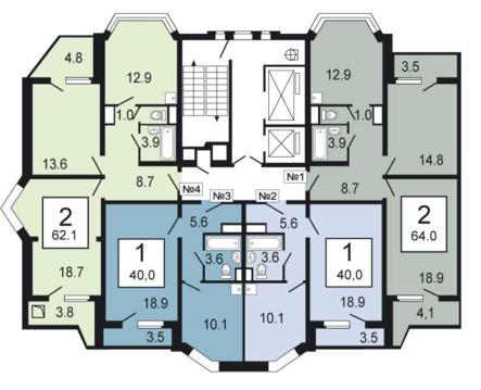 2-комнатная квартира, 64 кв.м., в ЖК «Южное Кучино-2»