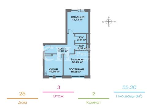 "2-комнатная квартира, 55 кв.м., в ЖК ""Голландский квартал"""