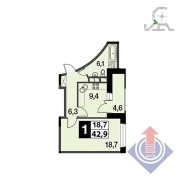 """1-комнатная квартира, 43 кв.м., в ЖК """"UP!КВАРТАЛ""""Римский"""""""