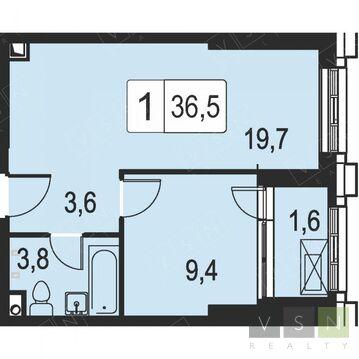 """1-комнатная квартира, 36 кв.м., в ЖК """"Селигер Сити"""""""
