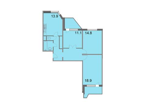 """Продается 3-к. квартира, 79,6 кв.м. в ЖК """"Кварталы 21/19"""""""