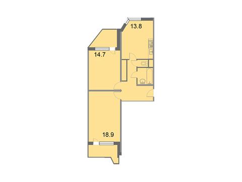 """Продается 2-к. квартира, 64,8 кв.м. в ЖК """"Кварталы 21/19"""""""