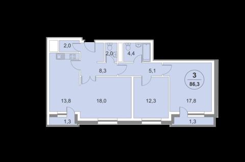 3-комнатная квартира, 86 кв.м., в ЖК «ФилиЧета-2»