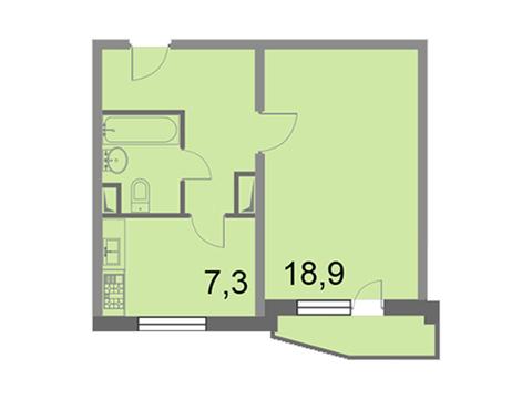 """Продается 1-к. квартира, 38,5 кв.м. в ЖК """"Кварталы 21/19"""""""