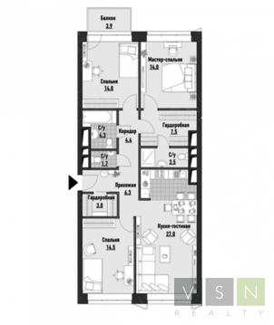 """4-комнатная квартира, 104 кв.м., в ЖК """"JAZZ"""""""