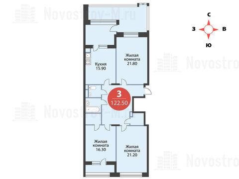 """3-комнатная квартира, 123 кв.м., в ЖК """"Сказка"""""""