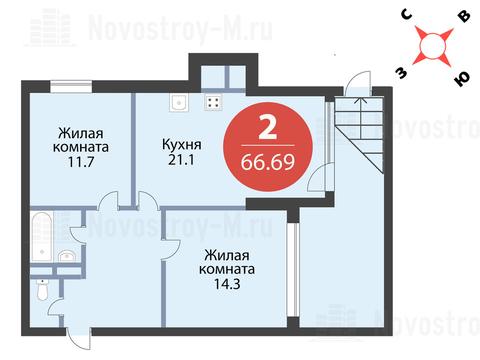 Павловская Слобода, 2-х комнатная квартира, ул. Красная д.д. 9, корп. 39, 7179480 руб.
