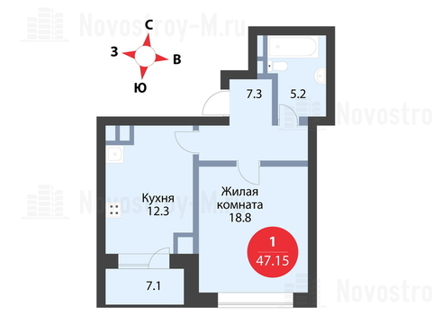 """1-комнатная квартира, в ЖК """"Сказка"""""""