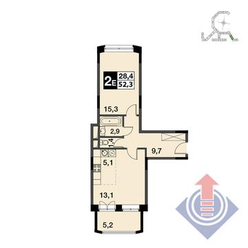 """2-комнатная квартира, 52 кв.м., в ЖК """"UP!КВАРТАЛ""""Римский"""""""