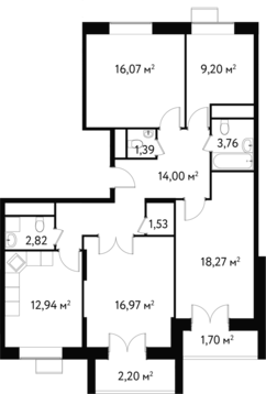 "4-комнатная квартира, 102 кв.м., в ЖК ""Дом на Сходненской"""