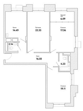 """3-комнатная квартира, 102 кв.м., в ЖК """"Пикассо"""""""