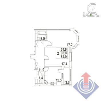 """2-комнатная квартира, 65 кв.м., в ЖК """"UP!КВАРТАЛ""""Римский"""""""