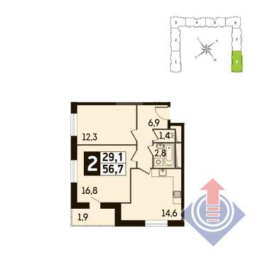 2-комнатная квартира, 57 кв.м., в ЖК Up! Квартал Новое Тушино