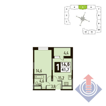 1-комнатная квартира, в ЖК Up! Квартал Новое Тушино