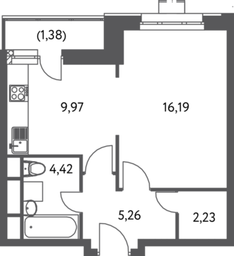 Москва, 1-но комнатная квартира, ул. Федора Полетаева д.15А, 6114750 руб.
