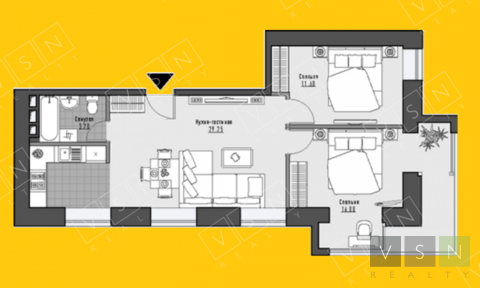 """2-комнатная квартира, 65 кв.м., в ЖК """"Парк Мира"""""""