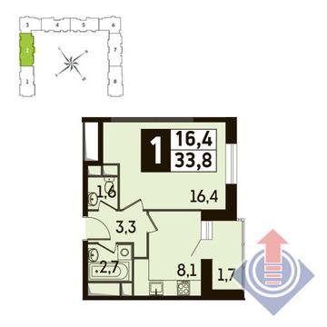 1-комнатная квартира, 34 кв.м., в ЖК Up! Квартал Новое Тушино